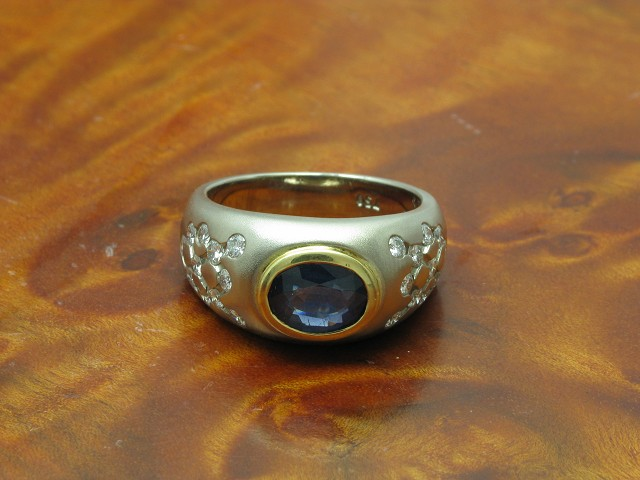 18kt 750 bicolor Gold Ring mit 0,66ct Brillant & 1,30ct Saphir Besatz / RG 55