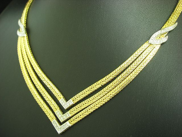18kt 750 bicolor Gold Collier mit 0,73ct Brillant besatz / Diamant / 64,9g/ 40cm